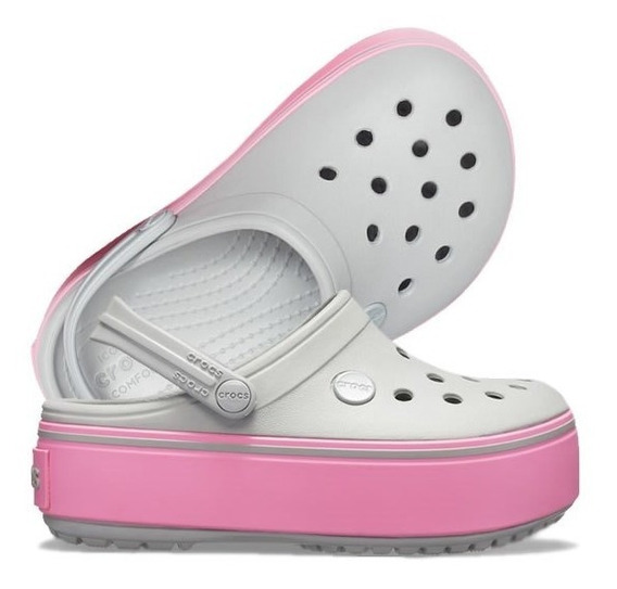 Crocband Platform Kids Clog Gs - Light Grey / Pink