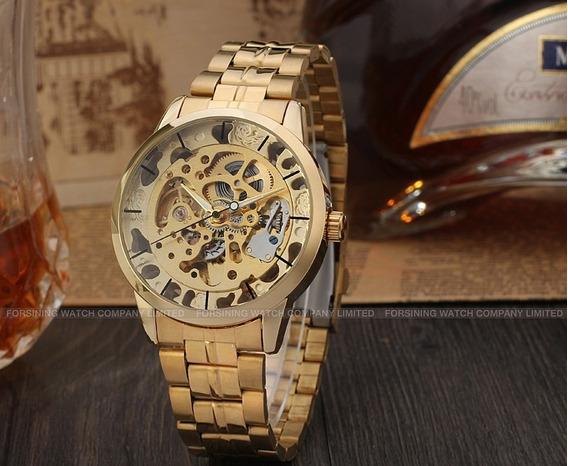 Relógio Winner Masculino Automático Skeleton Wr8003m4g1