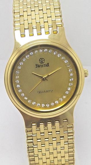 Relógio Swistar Quartz Mostrador Dourado Masc Vintage Suiço