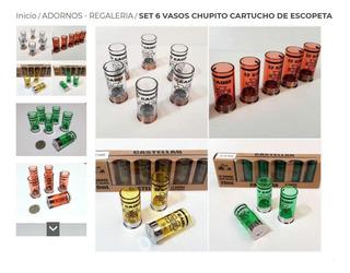 Set 4 Vasos Chupito Cartucho de Escopeta