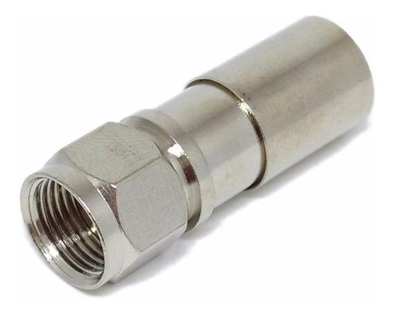 Conector Compressão Pressão Cabo Coaxial Rg6 - Pct 10 Unid.