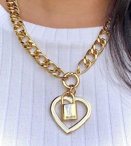 Corrente Feminina, Pingente Coração + Cadeado Santa Luxuria