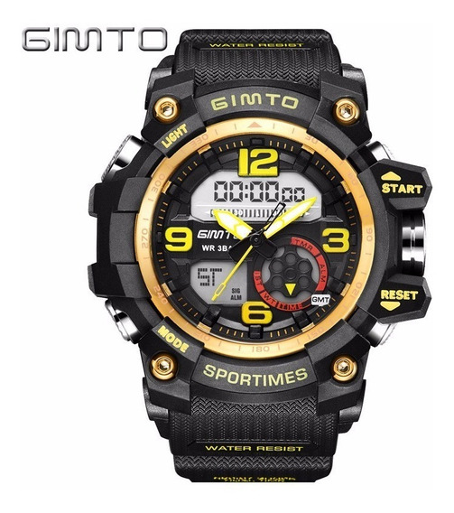 Reloj Dual Sport Militar Marca Gimto Modelo Gm305 Amarillo