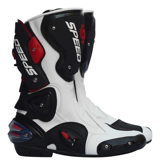 Bota Motociclista Speed Couro Moto Esportiva - Cor Branco