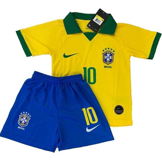 Camisa Conjunto Do Neymar Seleção Brasileira Infantil