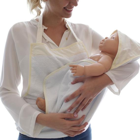 Toalha De Banho Com Toca Em Avental Poá Para Bebê Menina