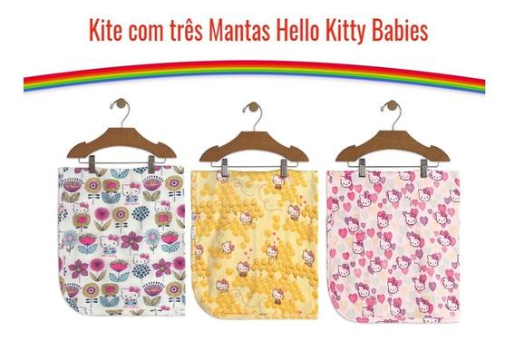 Kit Com 3 Manta Bebê Menina Em Suedine Hello Kitty Babies