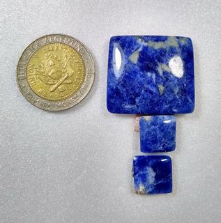 Conjunto De Piedra Sodalita Para Dije Y Aros Lote 58