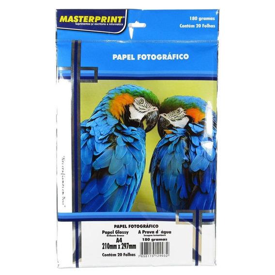 Papel Fotográfico Glossy Masterprint A4 180 G - 100 Folhas