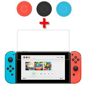 Película Vidro Resistência H9 + Par De Grips Nintendo Switch