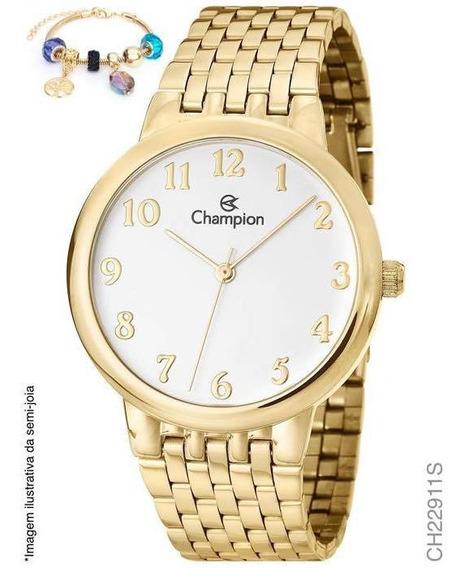 Relógio Banhado A Ouro Champion Ch22911s + Pulseira Berlock