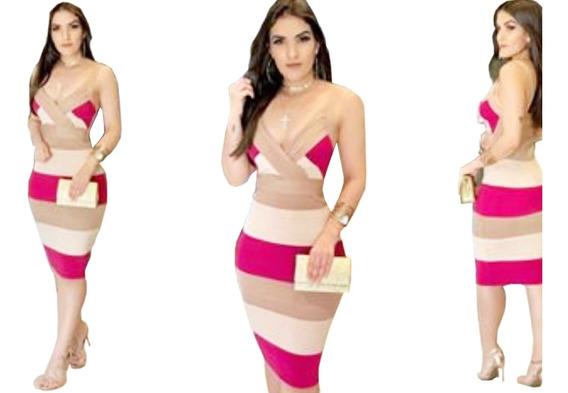 Vestido Curto Feminino Midi Tubinho Alça Lançamento Trico