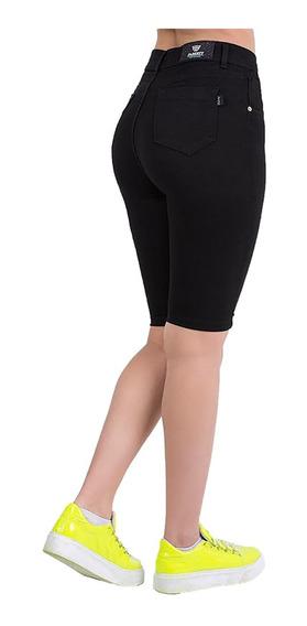 Excelentes Bermudas Jeans Elastizado Color Negro Tiro Alto