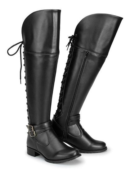 Bota Coturno Feminino Over The Knee Cano Longo Acima/joelho