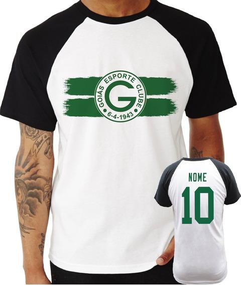 Camisa Camiseta Goiás Personalizada Raglan