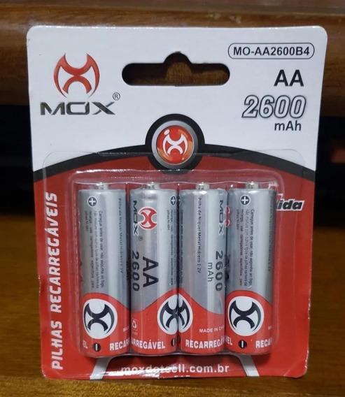 Pilhas Recarregáveis Mox Aa 2600mah (1.2v Ni-mh) 4 Unidades