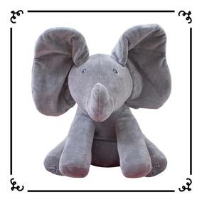 Peek A Boo Elefante Cinza Animado Canta Mexe Orelha Pelúcia