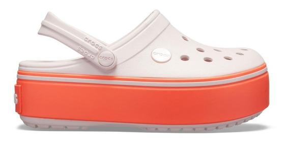 Crocband Platform Clog Gs Barely Pink/bright Coral