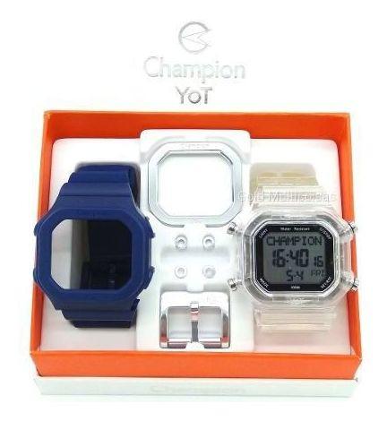 Relógio Champion Yot Troca Pulseira Azul Prata Original + Nf