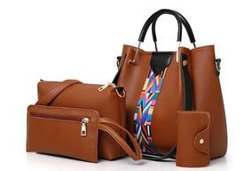 Bolsa Feminina Kit Com 4 Bolsas Grande, Ombro E 2 Carteiras
