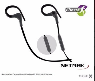 Auricular Deportivo Bluetooth Nm-v6-b Fitness Netmak