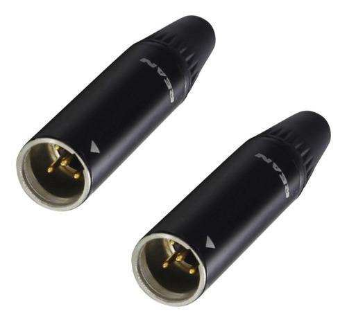 Imagem 1 de 6 de Kit 2 Plug Conector Rean Xlr Macho Mini Rt4mc-b