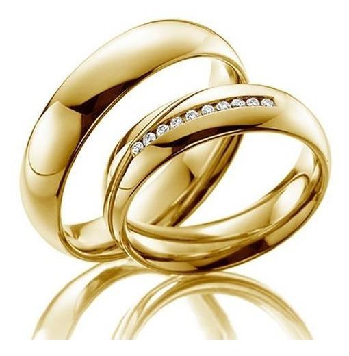 Par Alianças De Casamento Ouro 18k 6.5mm Abauladas Wmjóias