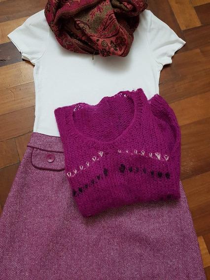 Sweater Tejido A Mano En Lana Mohair Color Purpura