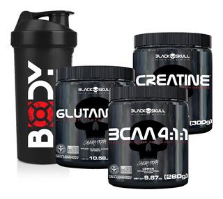 Glutamina 300g + Creatina 300g + Bcaa Em Pó + Shaker