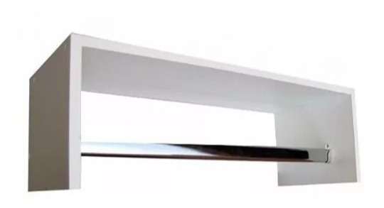 Cabideiro Prateleira Araras Roupas 60x20x25 Cm Mdf Branco