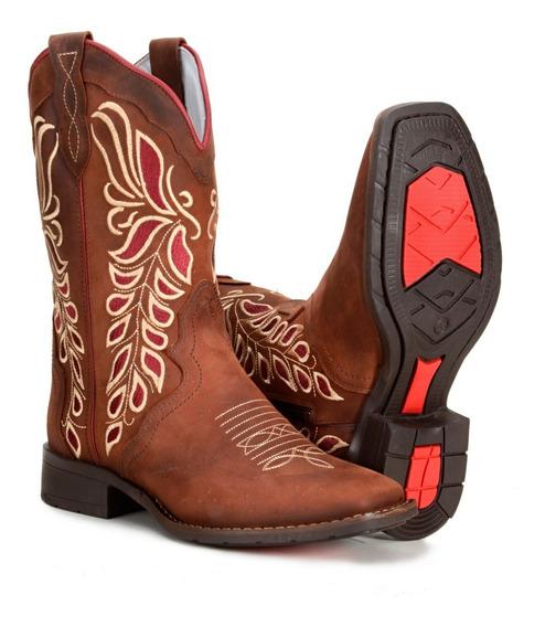 Bota Feminina Country Texana Bico Quadrado Bordada Flowers