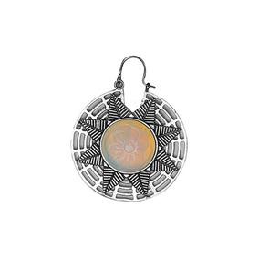 Brinco Indiano Tribal Mandala Dourado Prateado Pedra Lua