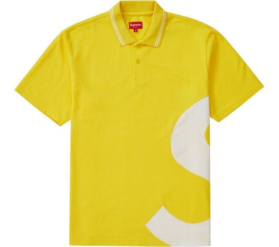 Supreme S Logo Polo Yellow Ss19 Talla Xl Original