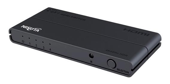 Switch Hdmi 4 Puertos Cont Remoto 3d 1080p 4k Nisuta Ns-swh4