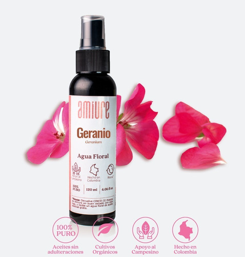 Hidrolato Agua Floral Tónico Geranio - mL a $167