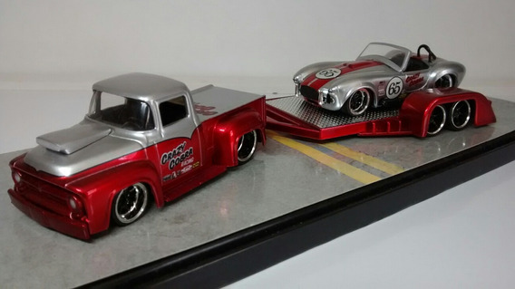 Set3: Ford F100 + Shelby Cobra + Carreta= Jada Big Time 1:64