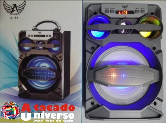 Caixa Som Bluetooth Sd Pendrive Aux Rádio Ltomex A81