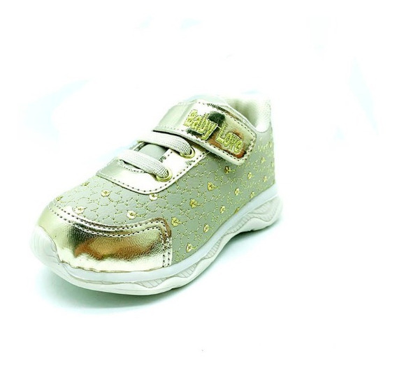Tênis Infantil Menina Led Velcro Dourado Baby Love
