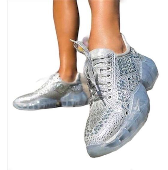 Tenis Crystal Plateado Sneakers Importación