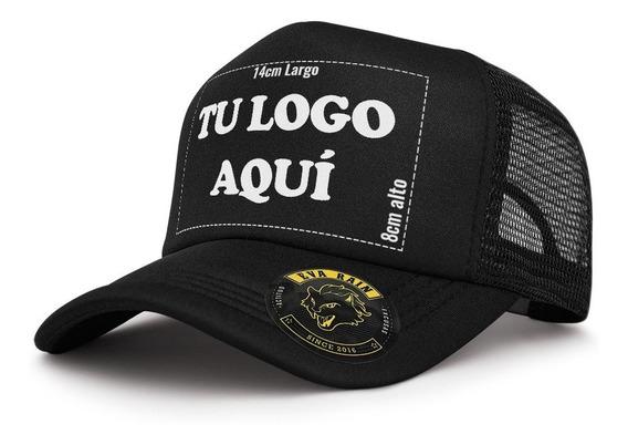 Gorra Trucker Negro Estampado Tu Logo Personalizable Premium