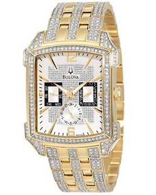 Relógio Bulova Dourado/aço/prat Retangulo Cristal Swarovski