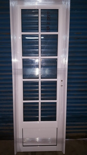 Puerta Aluminio Blanco Vidrio Repartido 3/4. 70 X 200