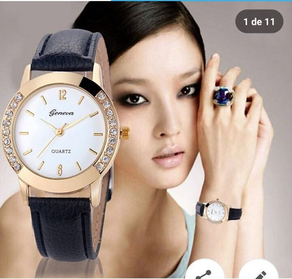 Relógio Luxo Com Pulseira De Couro Pedraria
