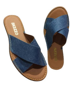 Chinelo Feminino Akazzo Jeans Azul Jass 431j-30
