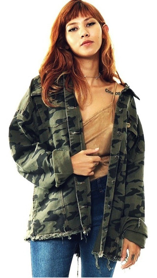 Parka Maxi Jaqueta Jeans Camuflada Militar Feminina