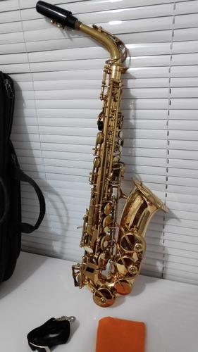 Saxofone Mib Alto Vince Dourado Completo Revisado