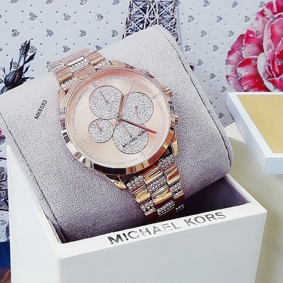 Relógio Michael Kors Mk6553 Dourado Cristais Pave - Slater