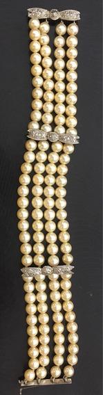 Pulseira Bracelete De Pérolas Com Barretes Em Ouro Branco