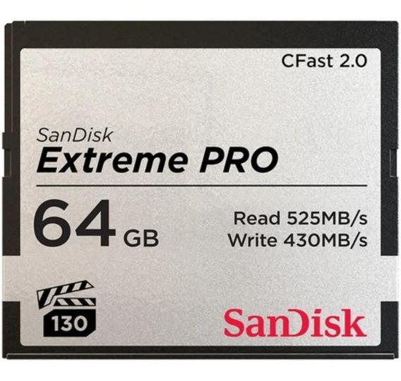 Cfast 64gb Sandisk Extreme Pro 525mb 2.0 Lançamento Lacrado