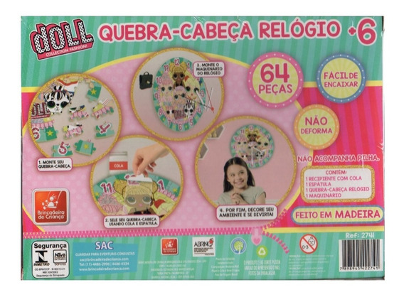 Quebra Cabeça Relogio Doll Brincadeira De Criança Loll 64 Pç